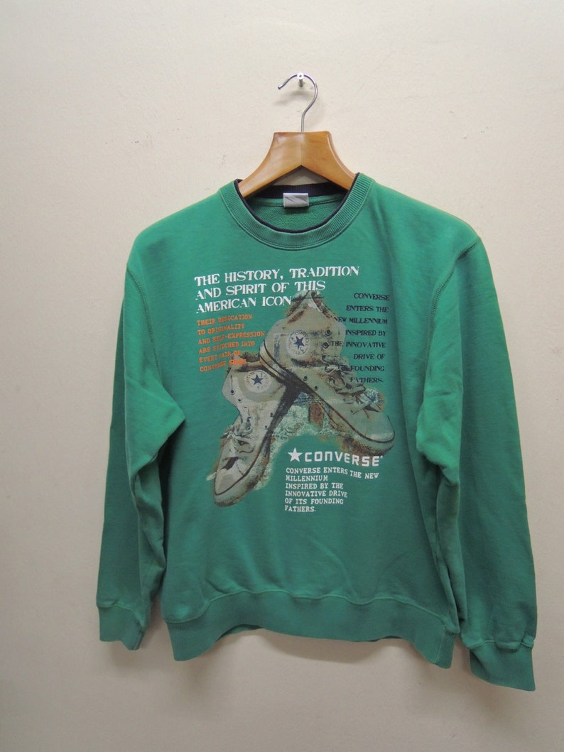 56e98e9bd54d3 Vintage Converse All Star Sweatshirt Sport Street Wear Skate Pull Over  Sweater Size L