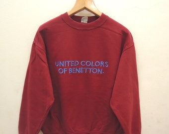 Vintage United Colors Of Benetton Chicago Sweatshirt Pull Over Sportswear Size L