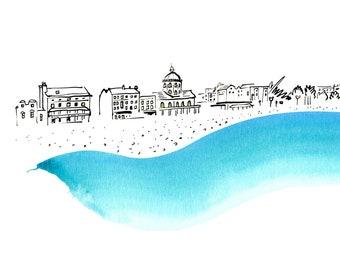Seaside town - from the 'Blue Splash' series of art prints