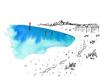 Beach huts and sea kale - from the 'Blue Splash' series of art prints