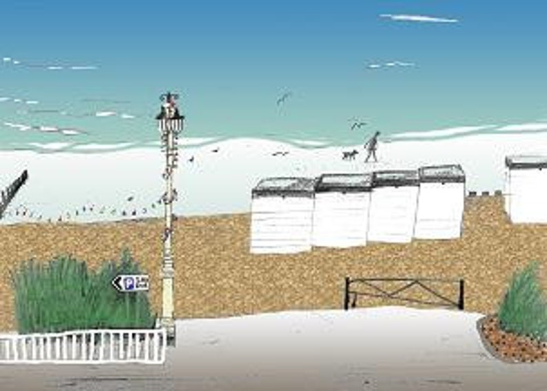 Worthing seaside print  Archival quality limited edition image 0