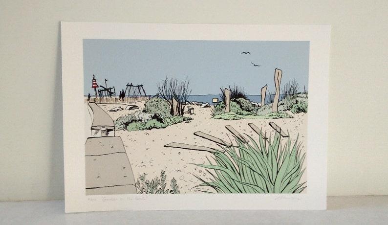 Worthing beach print  'Garden on the beach' archival image 0