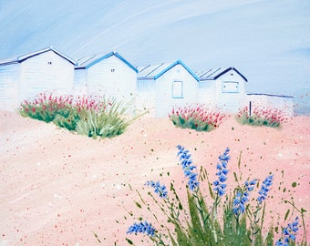 Seaside art print - 'Wildflower beach'