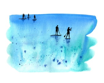 Paddle boarding - from the 'Blue Splash' series of art prints
