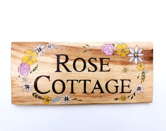 Personalised House Sign - House Sign Wood, House Sign Custom, House Sign Name, Rustic House Sign, Wooden House Sign, Pyrography, House Name