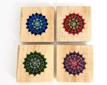 Wooden Drink Coasters - Wooden Coasters, Coasters, Rustic Coasters, Mandala, Kitchen Gift, House Warming Gift, Wood Coasters, Boho Style