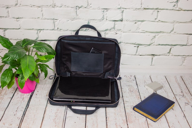 "17 Inch Handmade Genuine Leather Satchel 15"" Laptop Briefcase Messenger Bag"