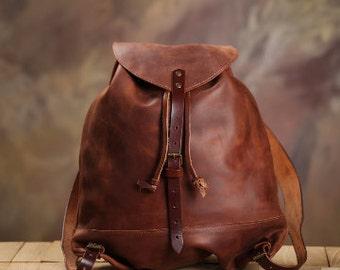Leather backpack, handmade, hipster backpack, women leather backpack, leather rucksack,  Brown leather backpack,Vintage leather backpack