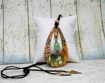 Klimt art nouveau pendant, necklace, handmade, Klimt, art nouveau, necklace, hand-made,