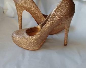 30cd80f870fd Hand Glittered Champagne Rose gold platform stiletto heel