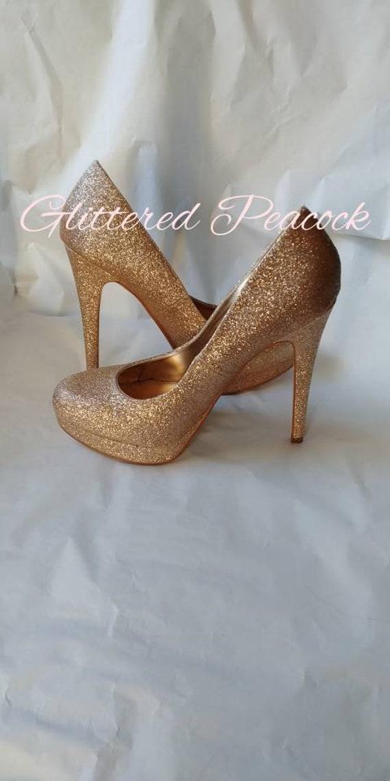 Round Closed Toe Iridescent Shimmery glitter Platform Pump High Stilettos Heels