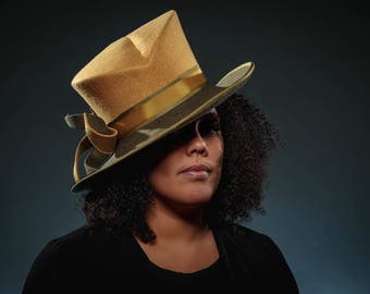 Women's Hat, Fedora, Trilby, Felt Hat in Ochre and Sage - Rachel