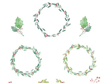 Christmas clip art hand drawn. Winter watercolor , post cards, wreath clip art, holly, arrangements.  - INSTANT DOWNLOAD B_103