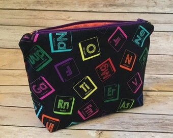 Periodic table bag etsy periodic table of elements bag makeup bag zipper bag bag gift science stem teacher periodic table pouch atomic number urtaz Images