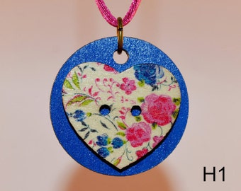 Pink Flower Heart on Blue Necklace