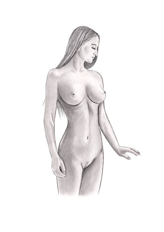 Drawing, nude figure study for a mural, mid