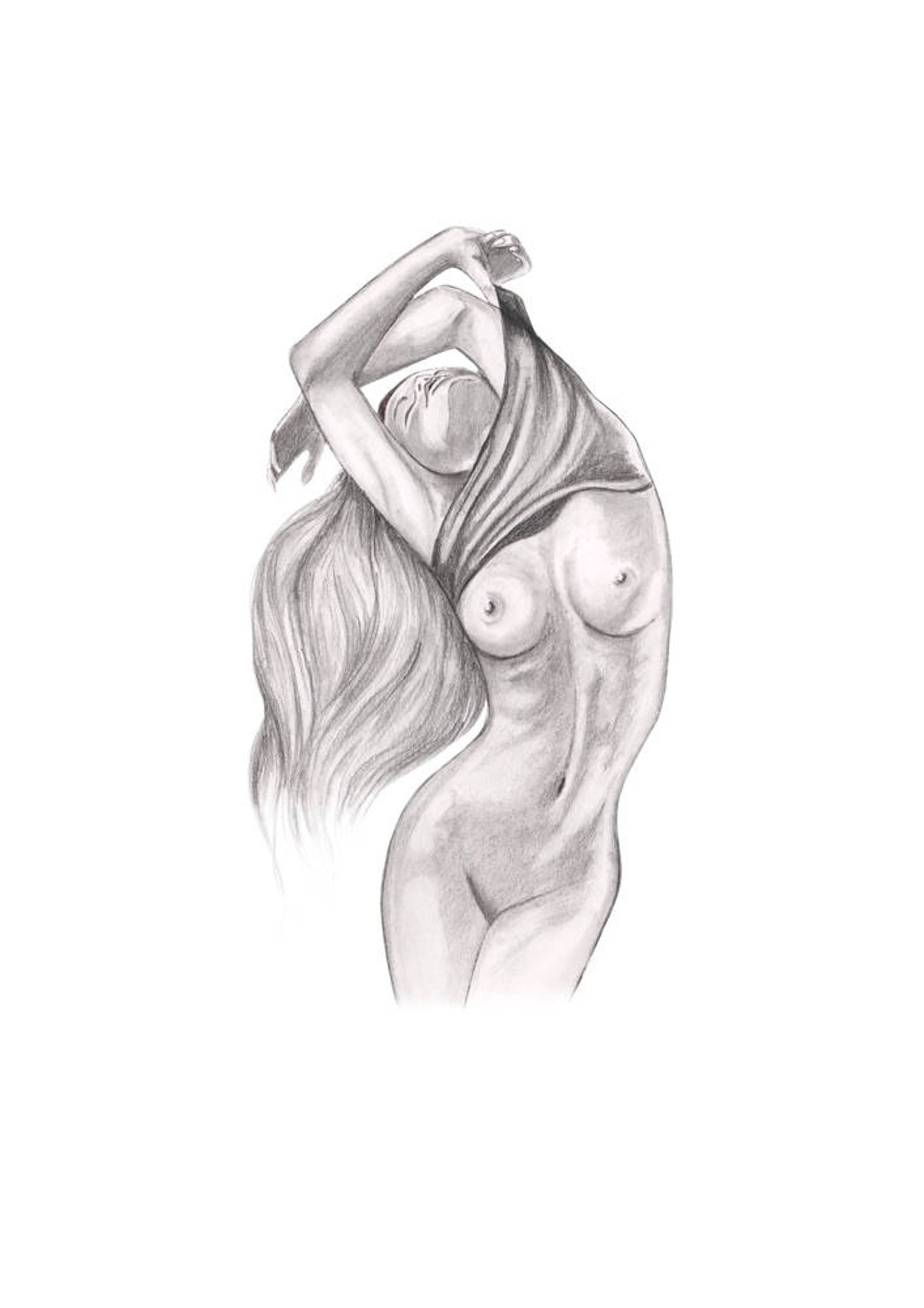 Nude strong woman drawing 2