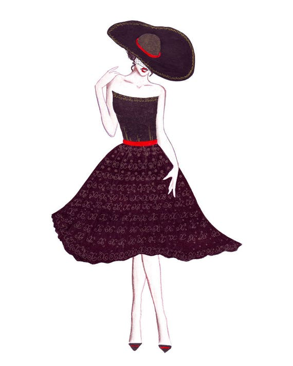 Sombrero de vestido de niña de moda. Boceto dibujo a mujeres | Etsy