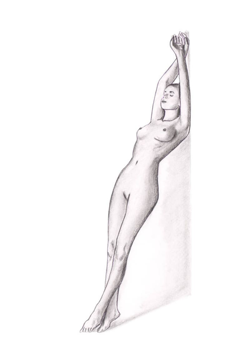 Naked girl wall nude pencil drawing art female nude sketch etsy