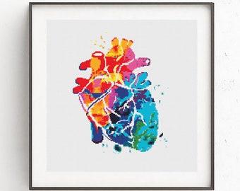 Modern cross stitch pattern Human Heart cross stitch Watercolor anatomical heart Counted cross stitch PDF Funny cross stitch Easy xstitch