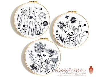 Wildflower cross stitch pattern Wildflowers dandelion counted cross stitch bundle Floral embroidery designs PDF digital download