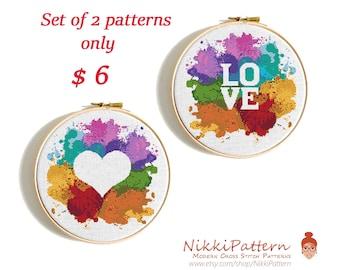 Heart cross stitch pattern Watercolor chart Funny cross stitch Love Modern cross stitch Wedding Gift Baby cross stitch Counted Cross stitch
