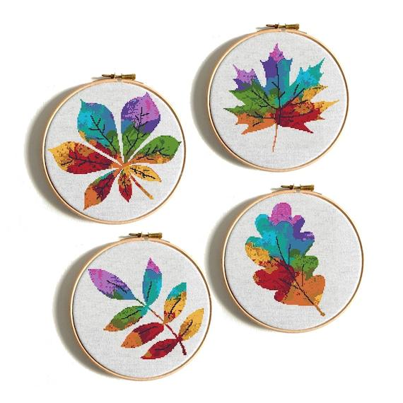 Modern Cross stitch pattern Watercolor Rainbow cross stitch Tree Counted cross stitch Embroidery Hoop Art Easy cross stitch Four seasons