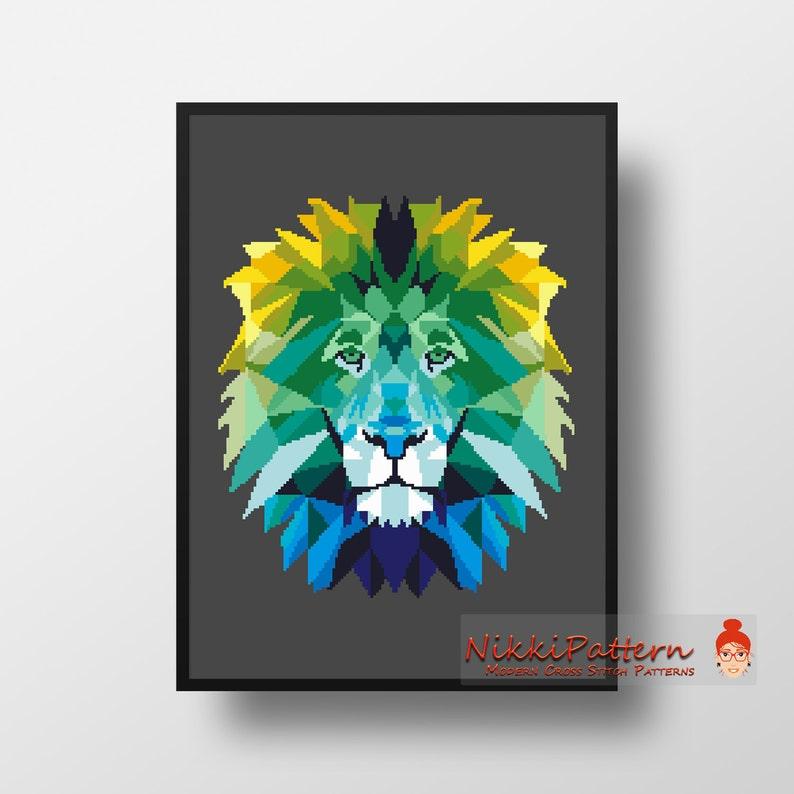 Animal Cross Stitch Pattern Geometric Lion Wild animal Cat image 0