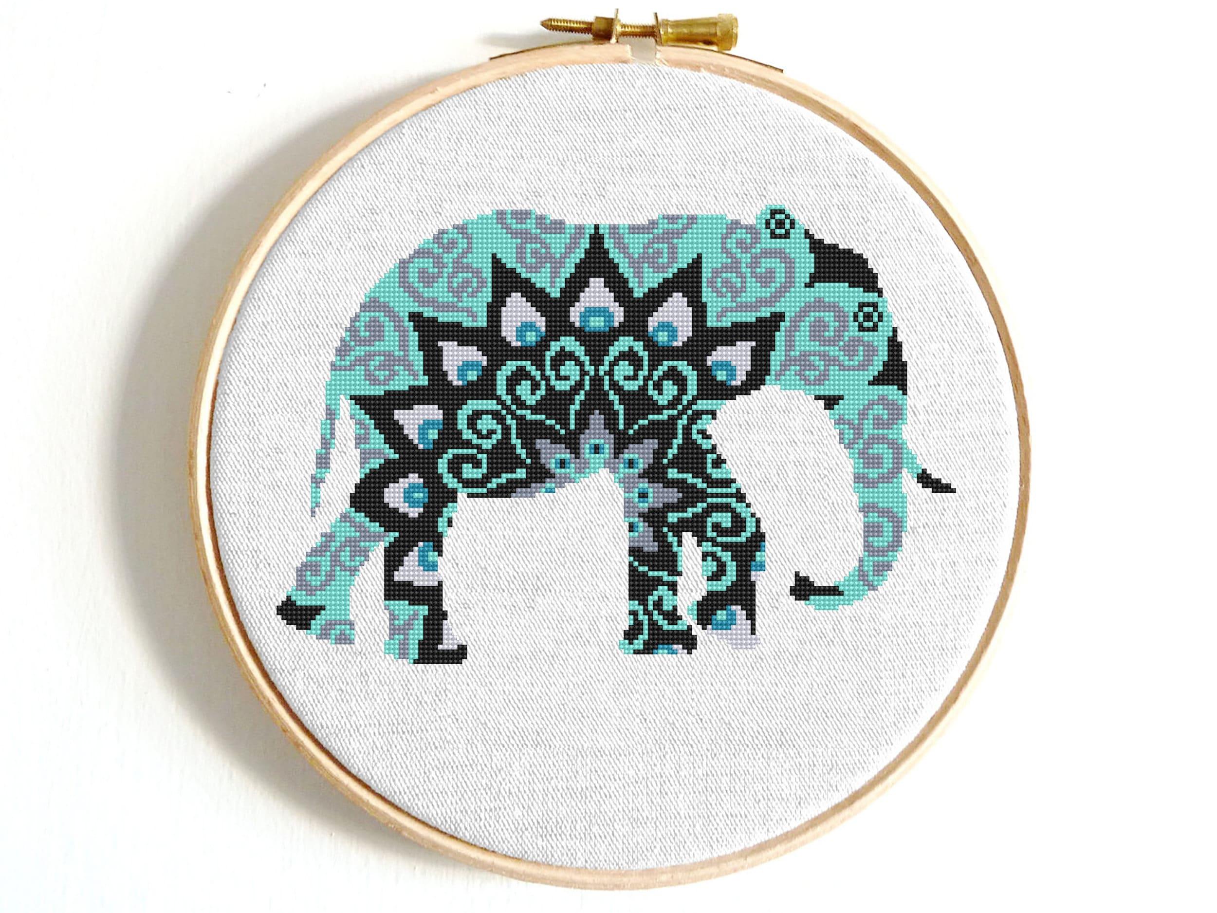 Elephant mandala cross stitch pattern Pdf Mandala animal cross stitch Easy  cross stitch Modern Counted cross stitch mandala Digital download