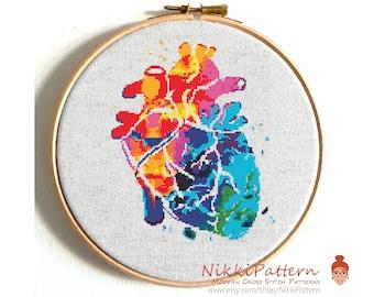 Heart cross stitch pattern Modern cross stitch pattern Watercolor human heart Counted cross stitch PDF pattern Funny cross stitch Embroidery