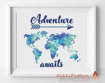 Adventure awaits cross stitch world map Watercolor cross stitch map cross stitch pattern PDF Easy cross stitch Modern counted cross stitch