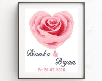 Easy cross stitch, wedding sampler, cross stitch pattern, cute pink rose heart, modern cross stitch, wedding gift DIY Personalized Pdf Chart