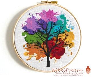 Modern cross stitch pattern Four seasons Instant download PDF