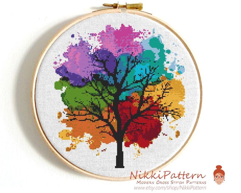 Modern cross stitch pattern Four seasons Instant download PDF image 0