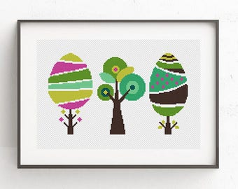 Geometric Floral cross stitch pattern Colorful Tree Cross Stitch Modern cross stitch sampler Counted cross stitch Geometric pattern Nature