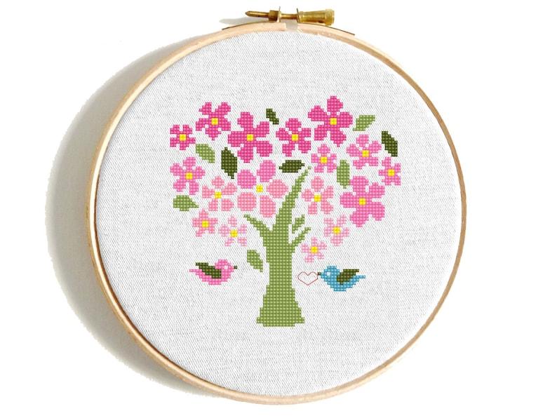 Modern cross stitch pattern Four Seasons Tree Counted cross stitch Set Funny cross stitch Heart Modern embroidery Cool cross stitch Beginner