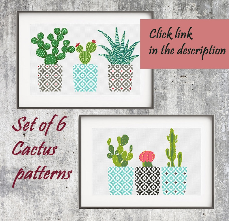 Cactus cross stitch pattern Faux Succulent cross stitch Floral counted cross stitch cross stitch Cactus terrarium Unique pattern gift Mom