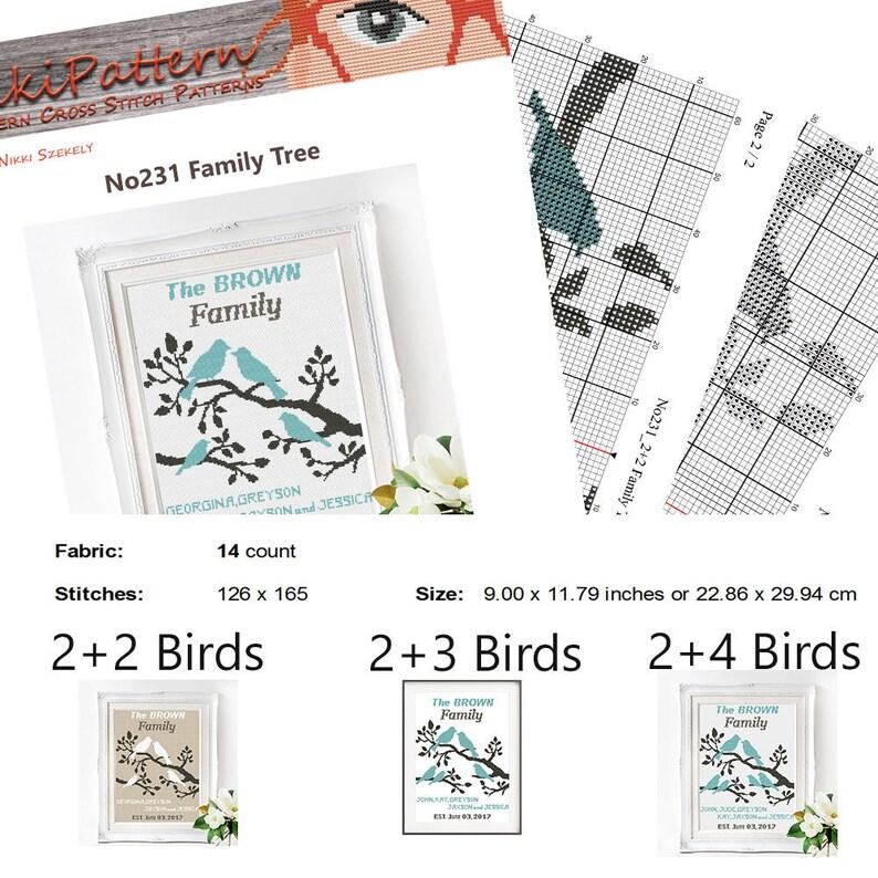 Wedding cross stitch pattern Family tree sampler DIY Personalized pattern Modern Mr /& Mrs embroidery Cute birds little animals Wedding Gift