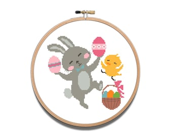 Funny cross stitch Happy Easter counted cross stitch pattern PDF Spring Easter Easy cross stitch Bunny cross stitch Ester eggs cross stitch