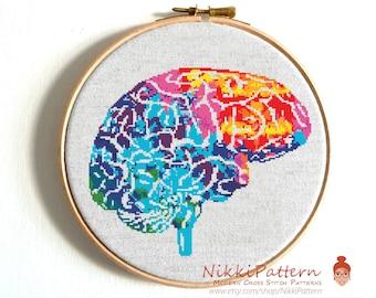 Human Anatomy Brain cross stitch pattern Modern cross stitch Brain art Funny cross stitch chart Body cross stitch Science cross stitch Pdf