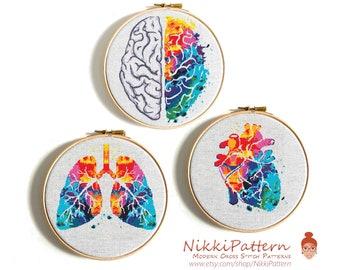 Anatomical cross stitch pattern PDF Brain Lungs Heart  Set of 3 Vivid human anatomy modern cross stitch chart Colorful body design