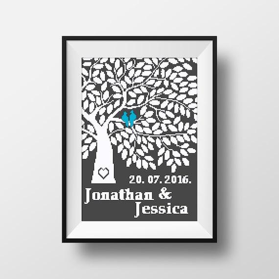 Wedding Cross Stitch Pattern Personalized wedding sampler | Etsy