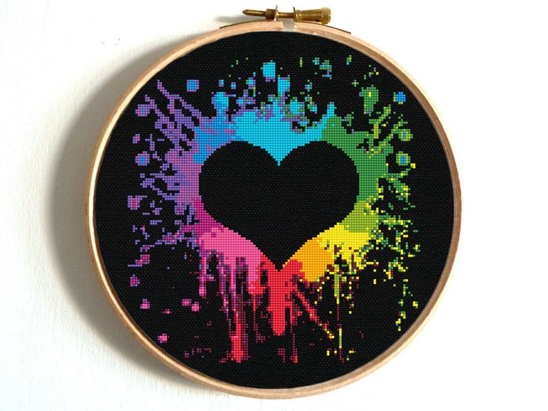 Heart Cross Stitch Pattern Colorful Rainbow Embroidery Love image 0