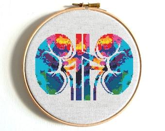 Modern cross stitch pattern Heart cross stitch Human Anatomical body cross stitch Science cross stitch Kidney Uterus Rips PDF Embroidery