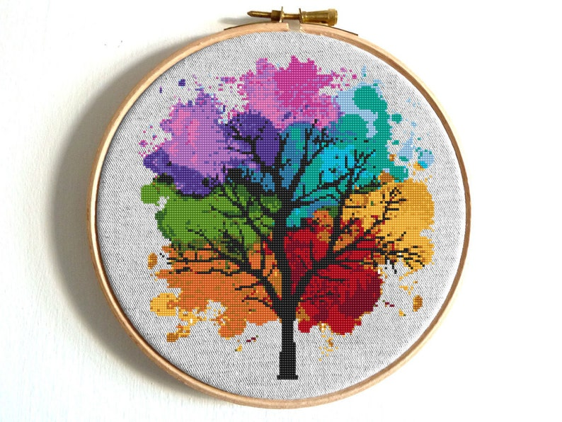 Home & Garden Counted Cross Stitch Paintings Four Season Tree Cross Stitch Patterns Embroidery Needlework Picture Home Decoration