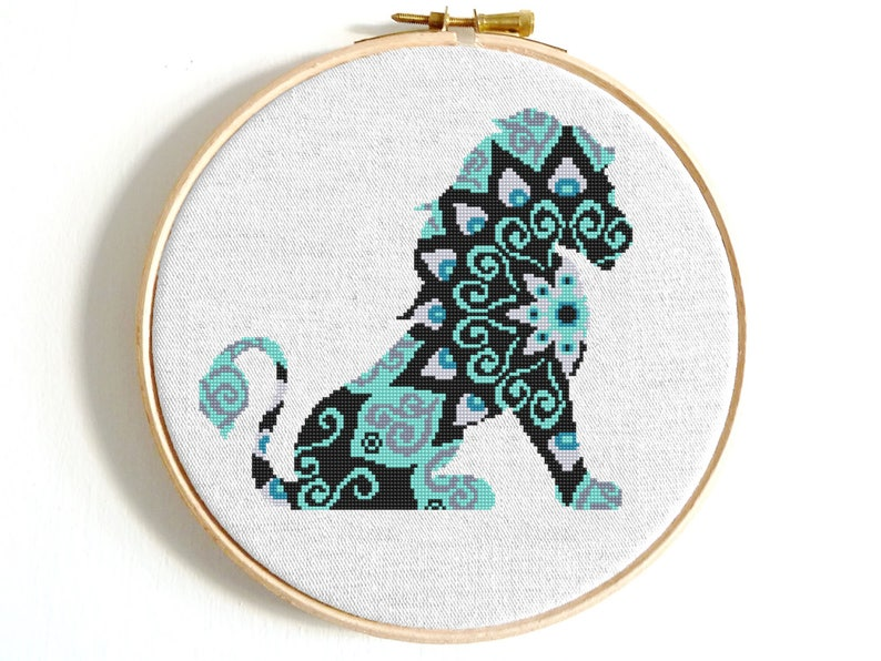 Mandala Lion cross stitch pattern Cat cross stitch Easy cross stitch  animals Modern cross stitch PDF Counted cross stitch Digital download