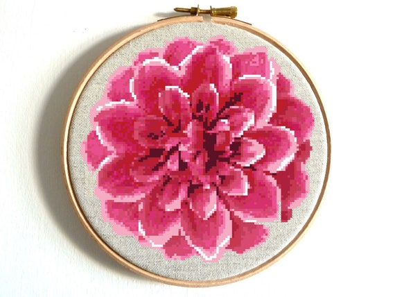 Chart Counted Cross Stitch Patterns Needlework Xstitch Craft DIY Pink Dahlias