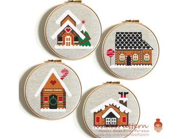 Gingerbread House Winter Christmas cross stitch pattern set Merry Christmas Modern cross stitch Easy Santa Claus Angel Heart Christmas tree