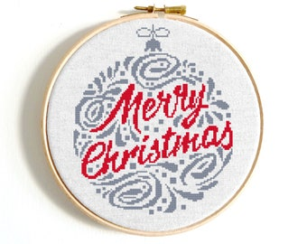 Christmas Ornament cross stitch pattern Merry Christmas Counted cross stitch Christmas tree punto de cruz Modern embroidery christmas cards