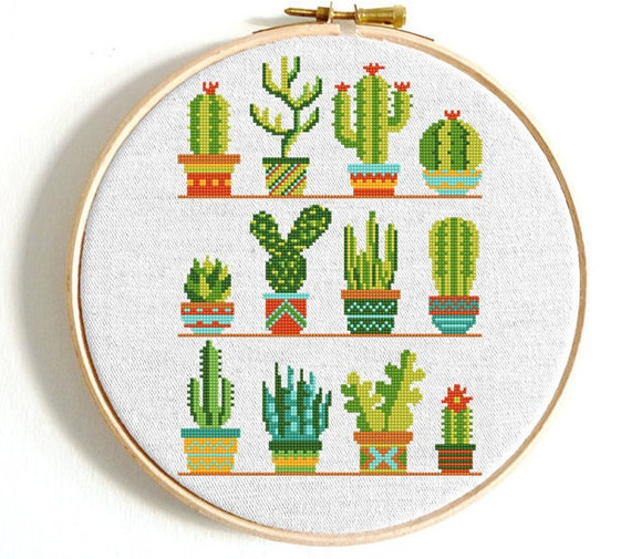 CROSS STITCH CHART PATIO POTS PLANTED FLOWERS CHART ONLY POTTED PLANTS